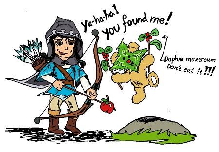 Maria is dressed like Link and Mishka like a Korok