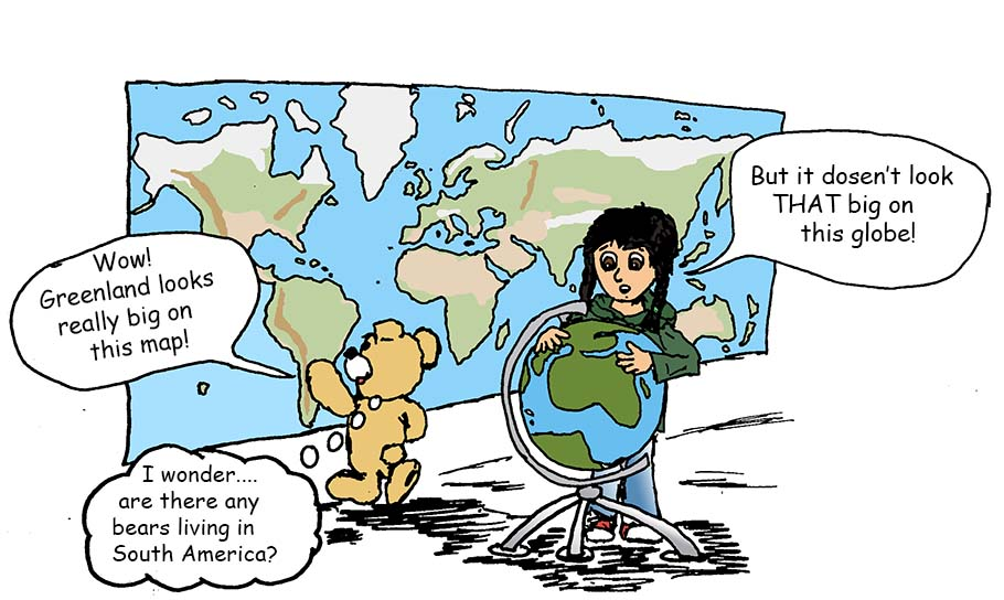Maria and Mishka are comparing a globe with a world map