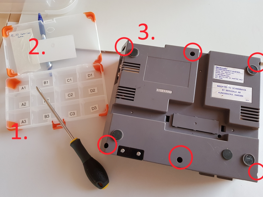 How to take apart the case and organize the screws.
