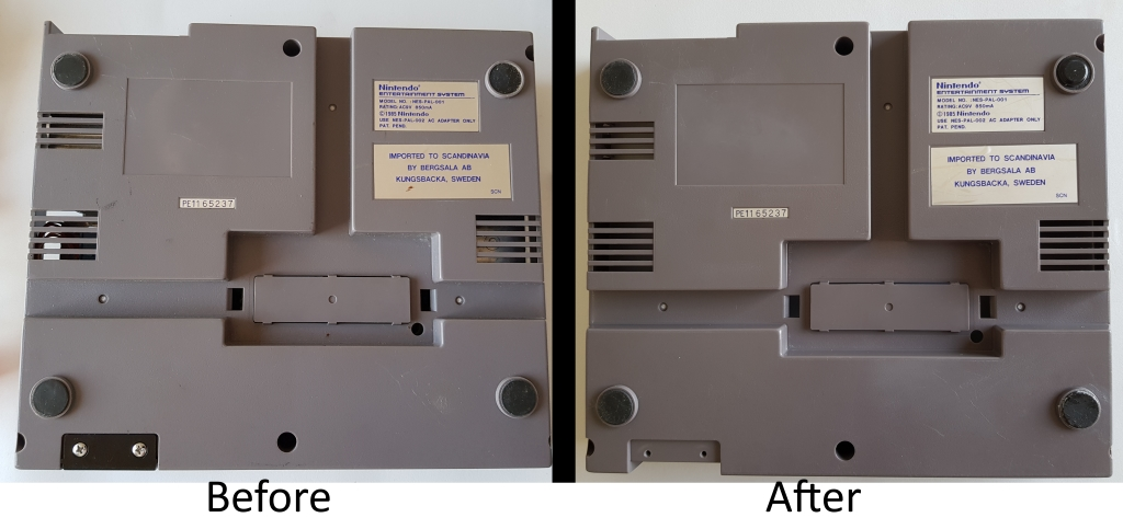 compare dirty NES case with clean case