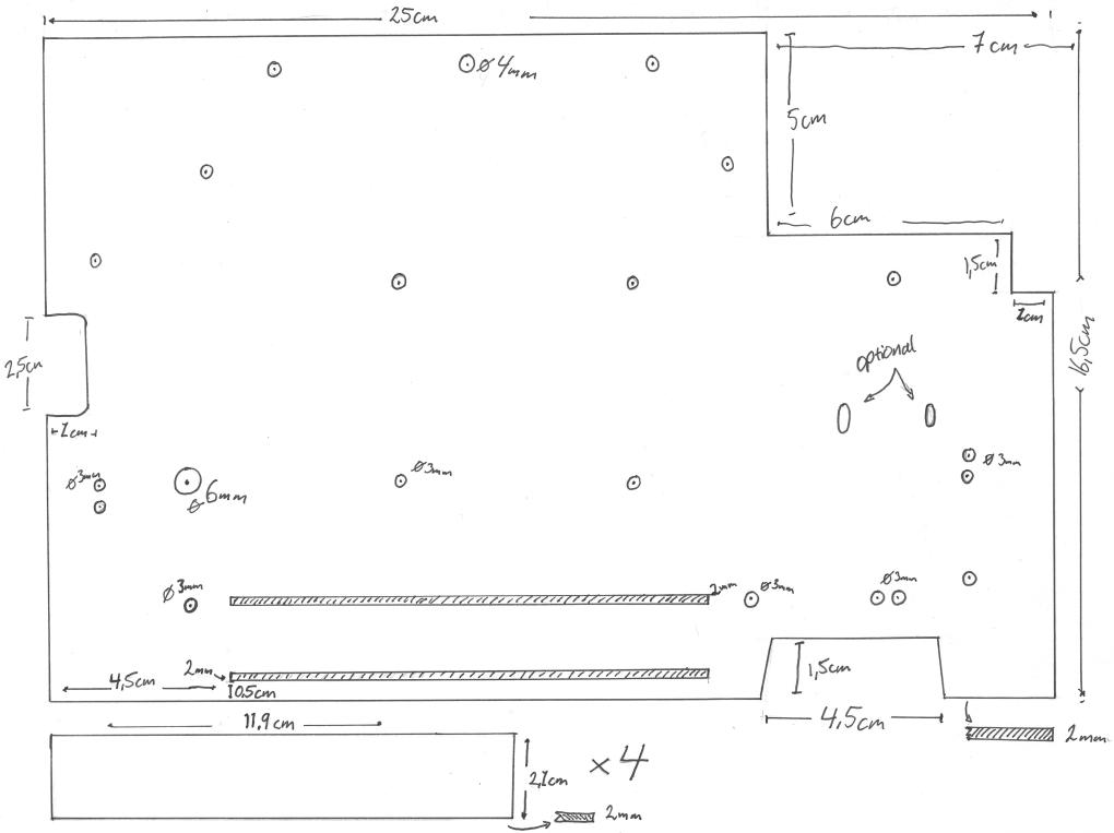 blueprint of the acrylic board