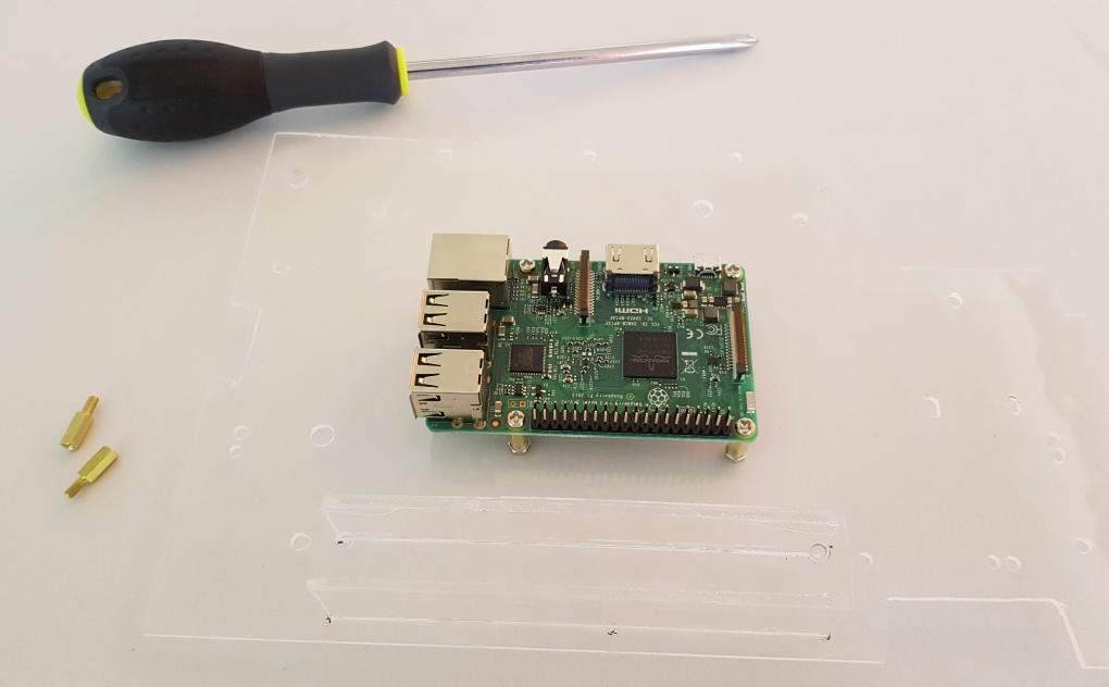 Raspberry Pi mounted on the acrylic board