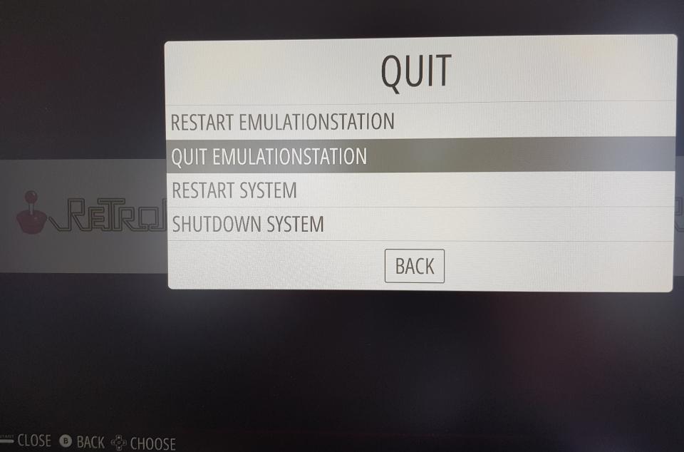 quit to terminal from retropie emulationstation