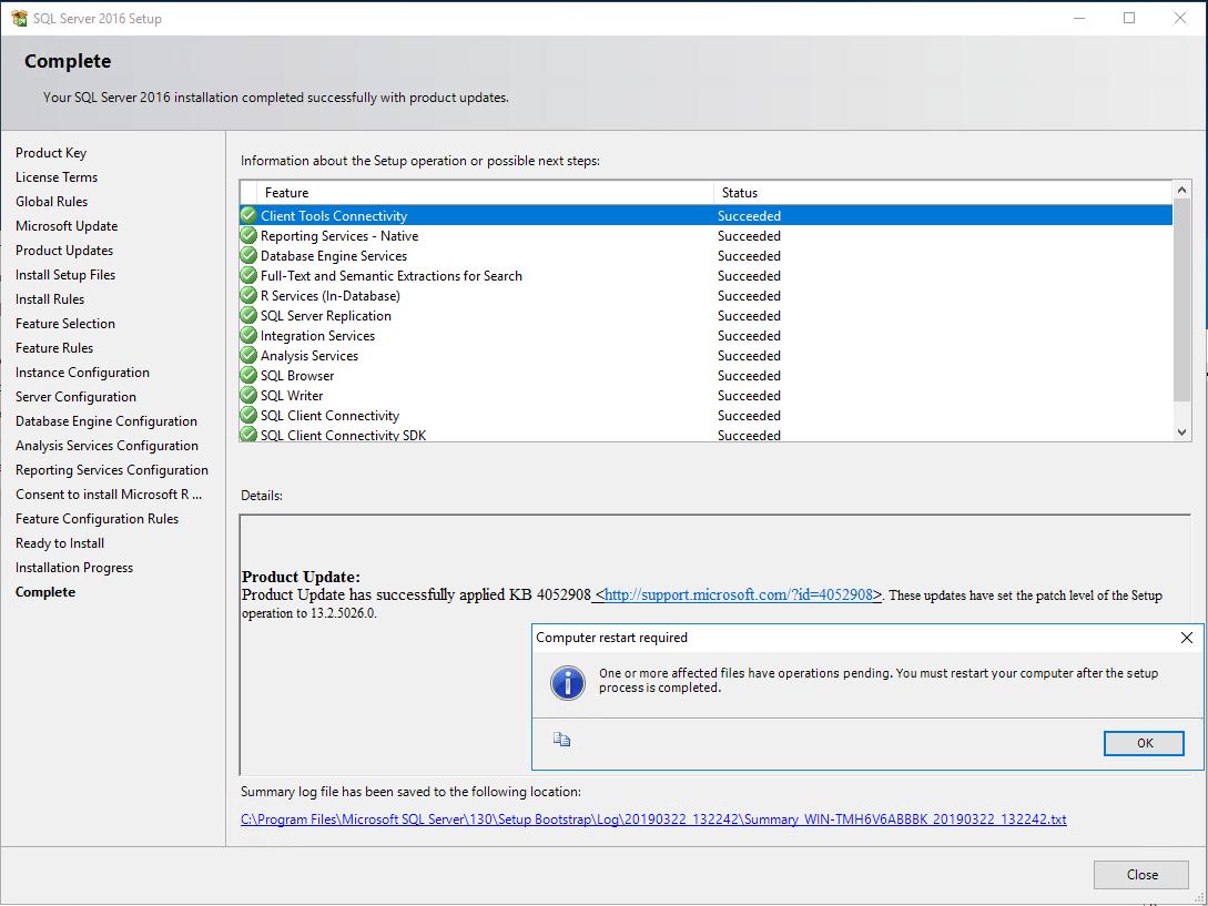 completed install SQL Server 2016