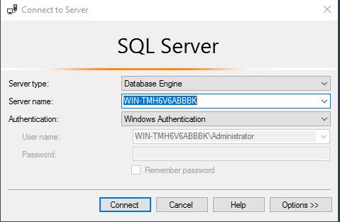 SSMS connect SQL Server