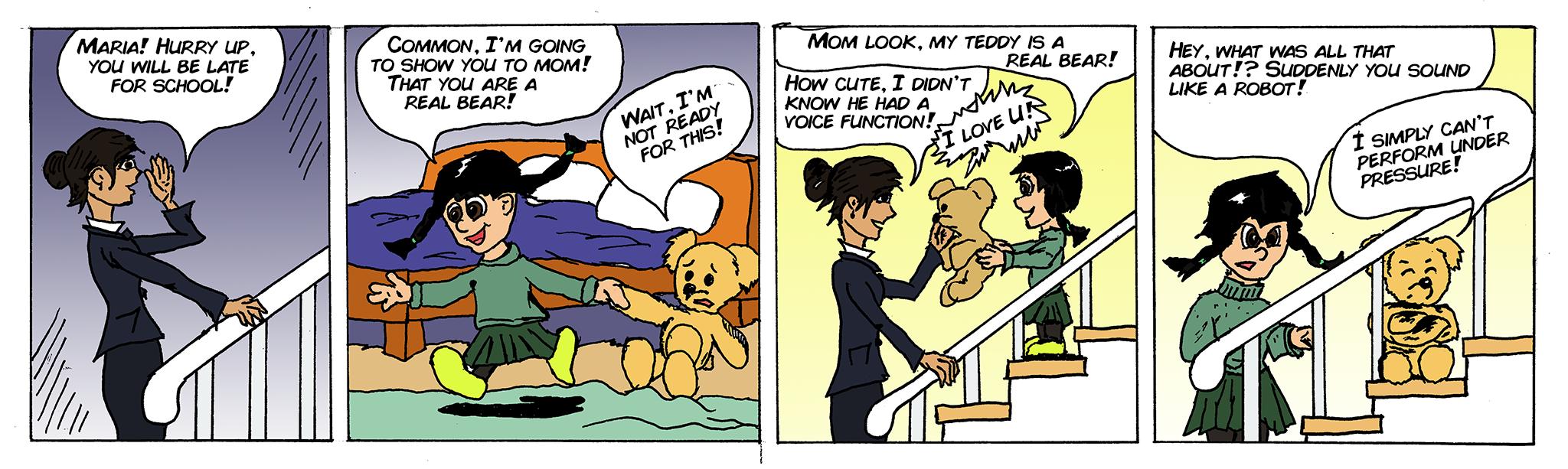 Maria shows Mishka to mom