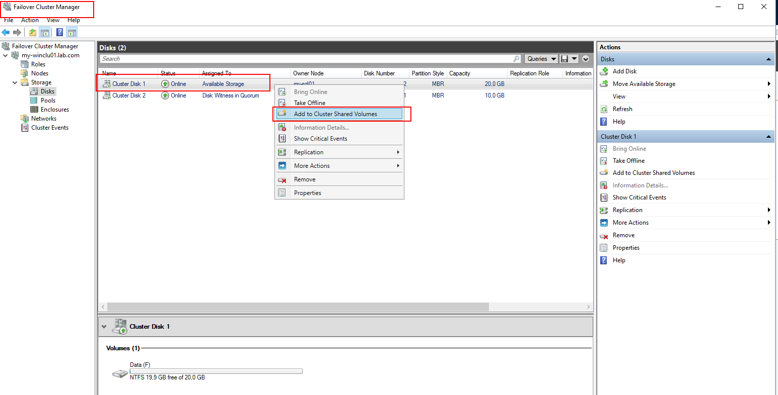 Add cluster disk as shared volume