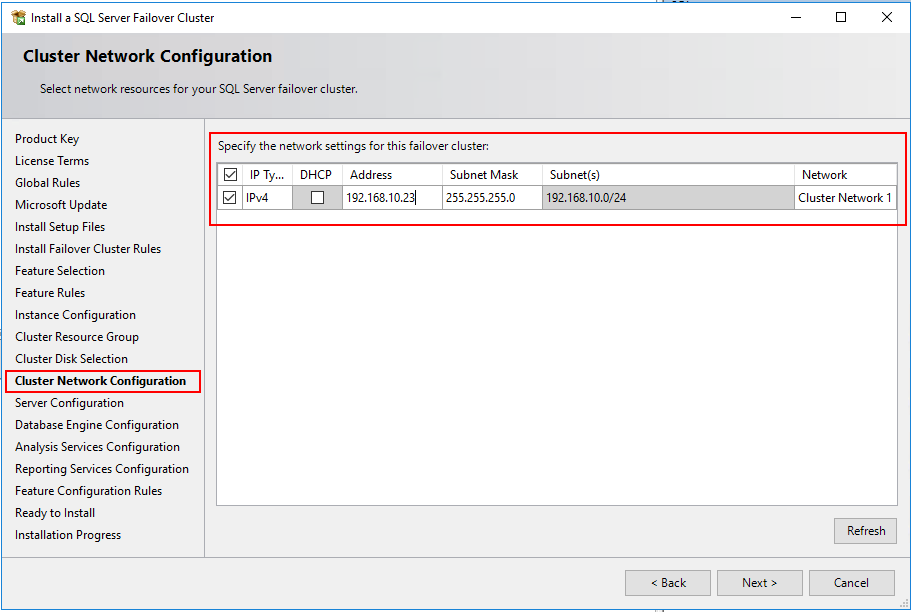 Cluster Network Configuration