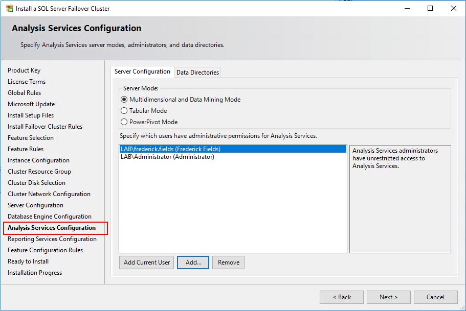 Analysis Services Configuration