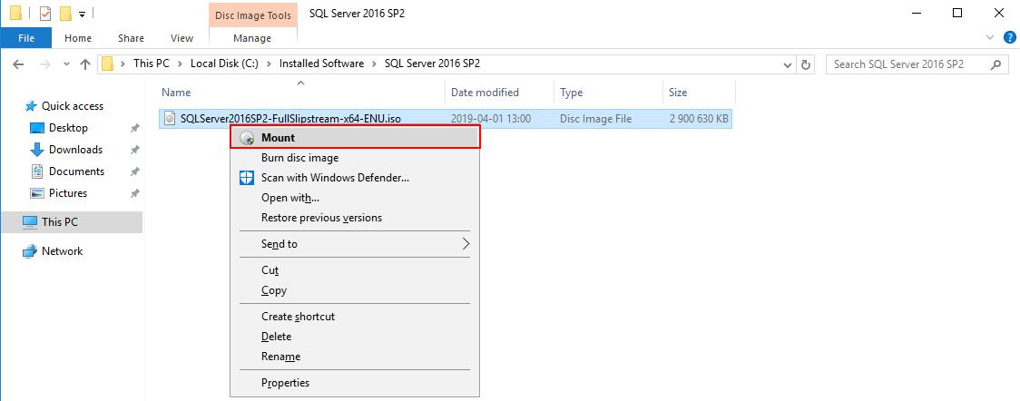 mount SQL media