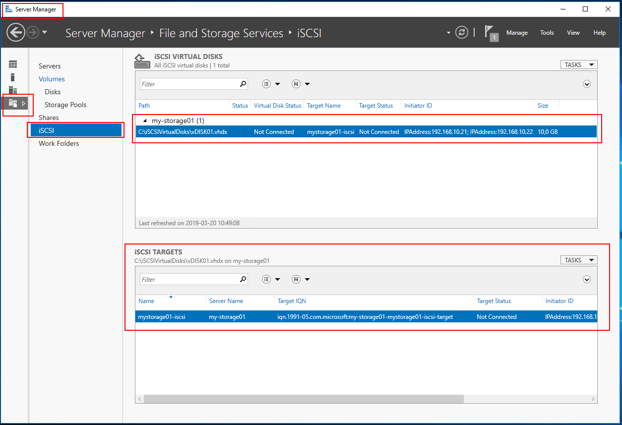 server manager view disk and target