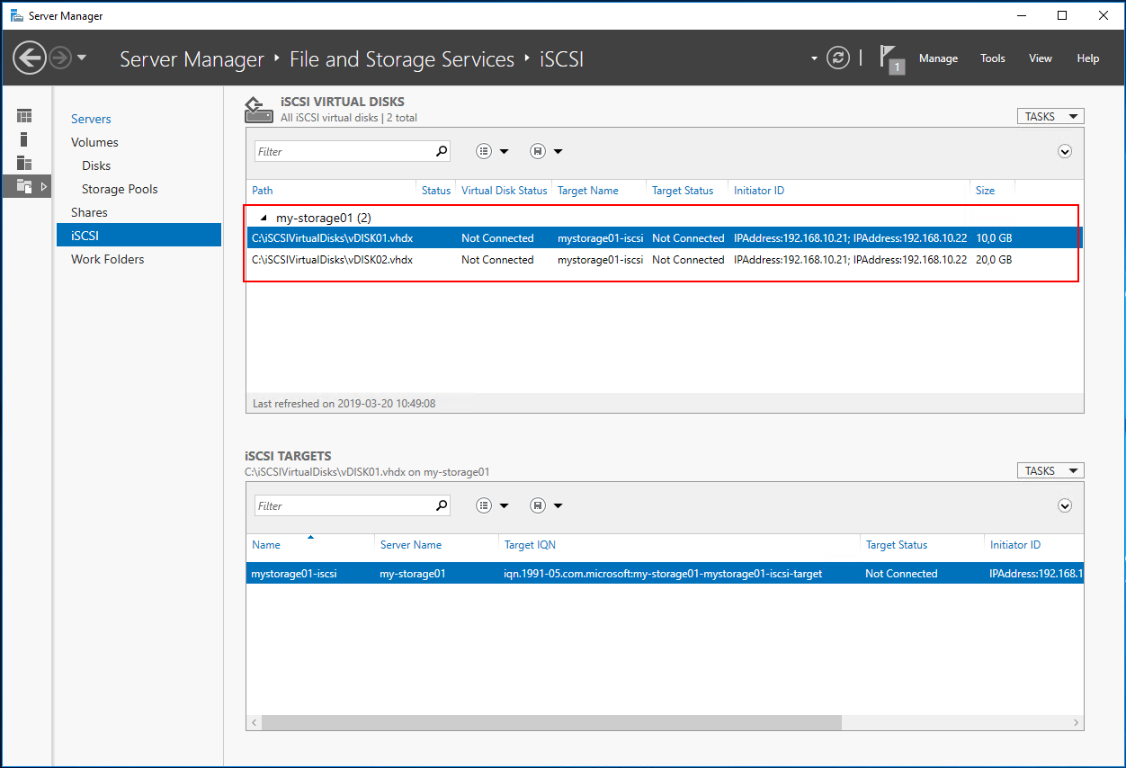 view disk server manager