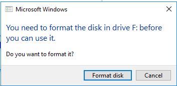 Format disk warning