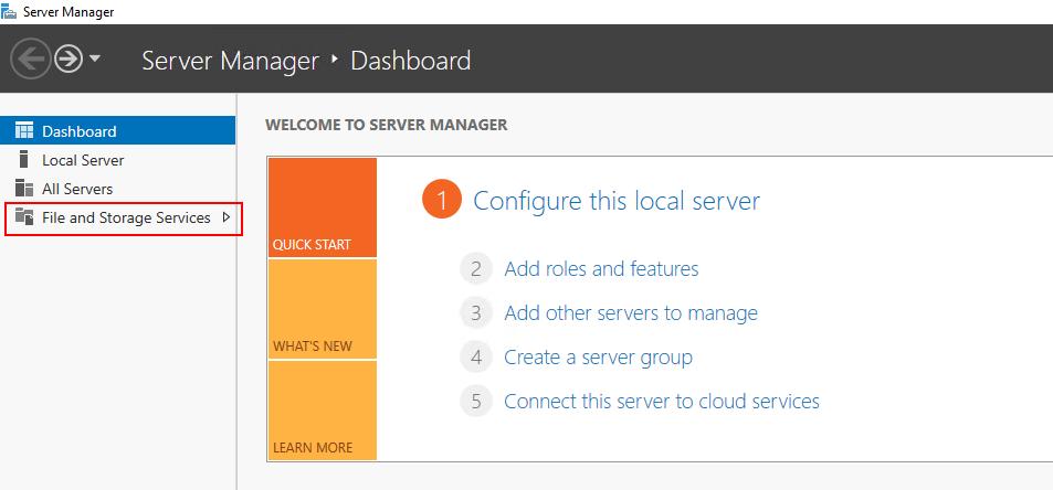 server manager storage