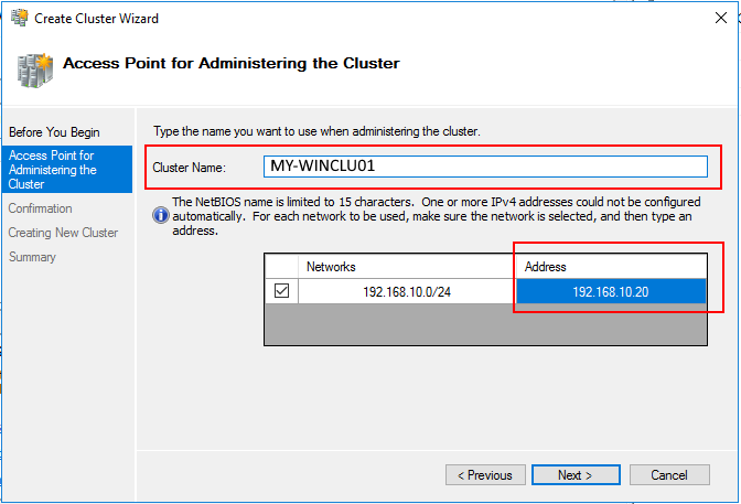 cluster name and IP
