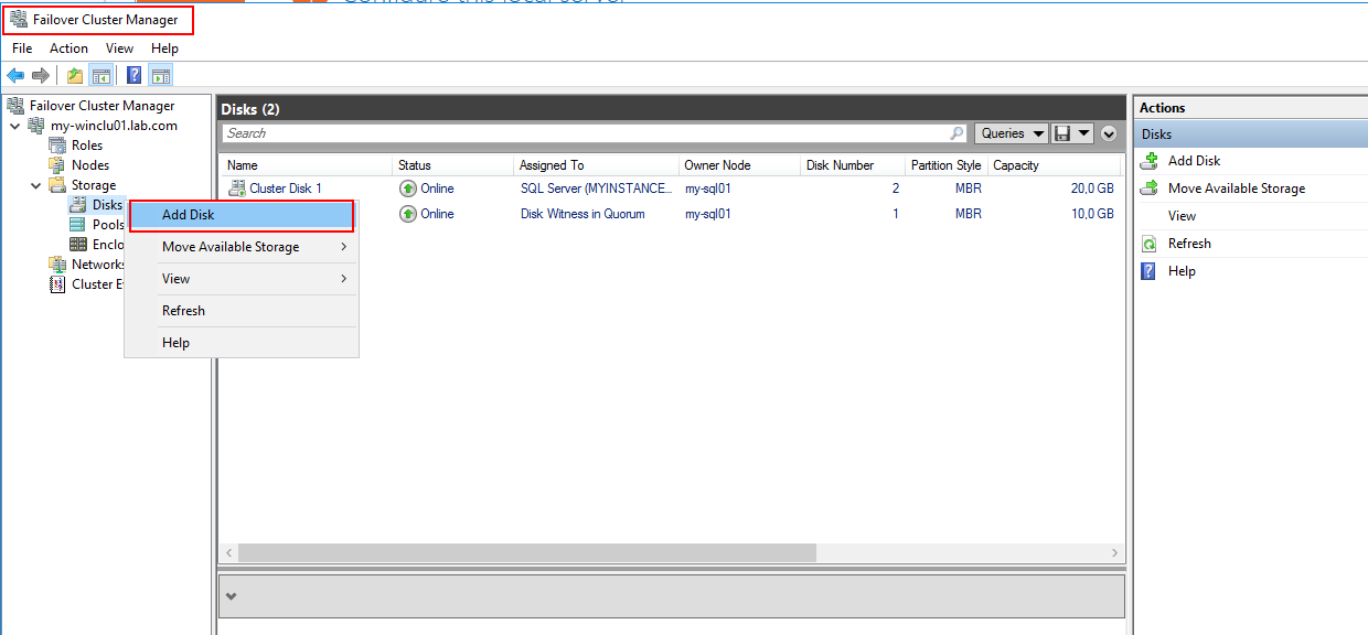 Add disk to cluster