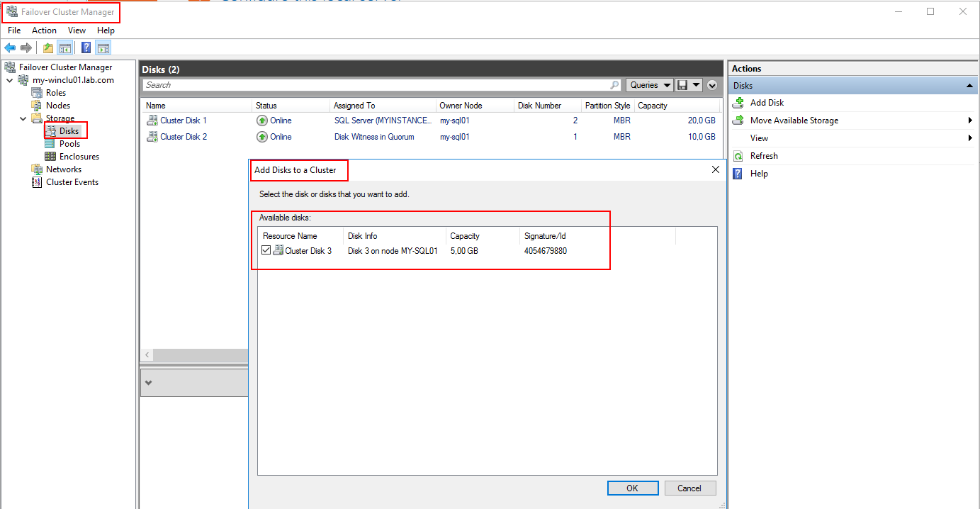 Add disk to cluster - chose