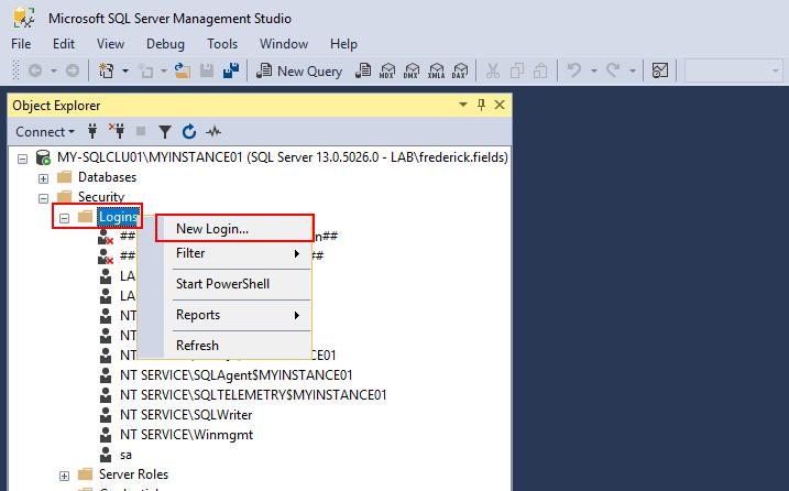 SQL login