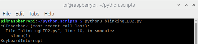 run and stop blinkingLED2.py