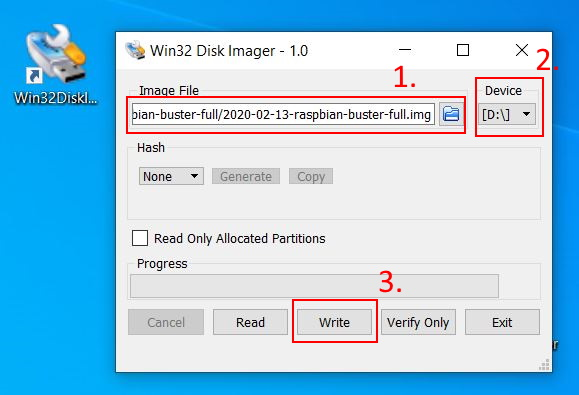 Write Raspbian Image to SD card