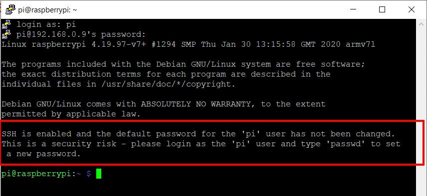 default password warning ssh