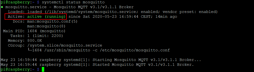 status running service systemctl mosquitto