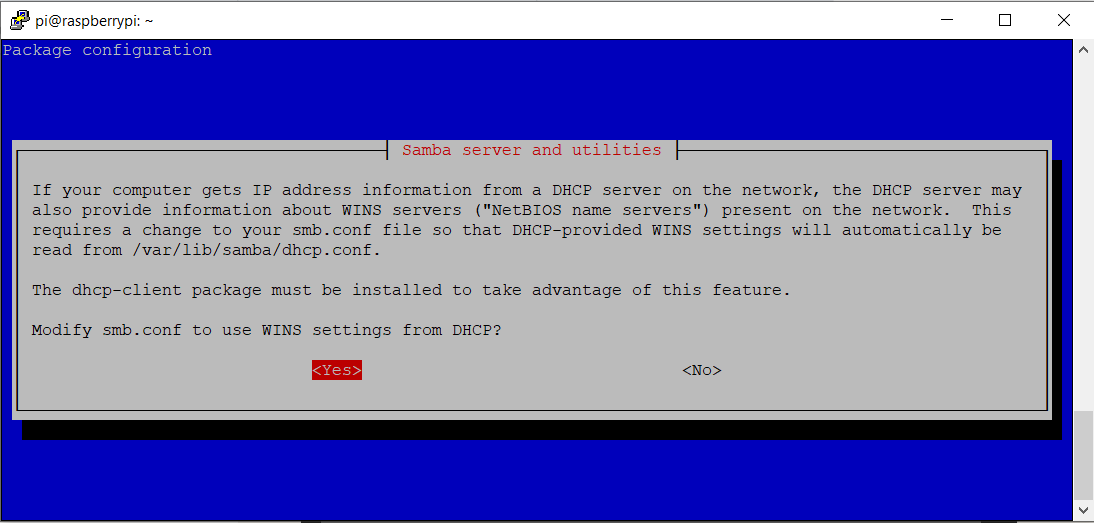 """If your computer gets IP address information from a DHCP server on the network, the DHCP server may also provide information about WINS servers (""NetBIOS name servers"") present on the network. This requires a change to your smb.conf file so that DHCP-provided WINS settings will automatically be read from /var/lib/samba/dhcp.conf. The dhcp-client package must be installed to take advantage of this feature. Modify smb.conf to use WINS settings from DHCP? <Yes><No>?"""