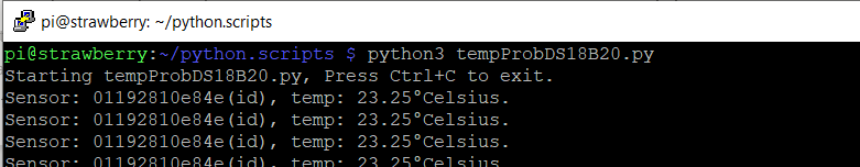 tempProbeDS18B20.py output normal temp
