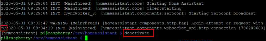 stop home assistant and deactivate python virtual environment