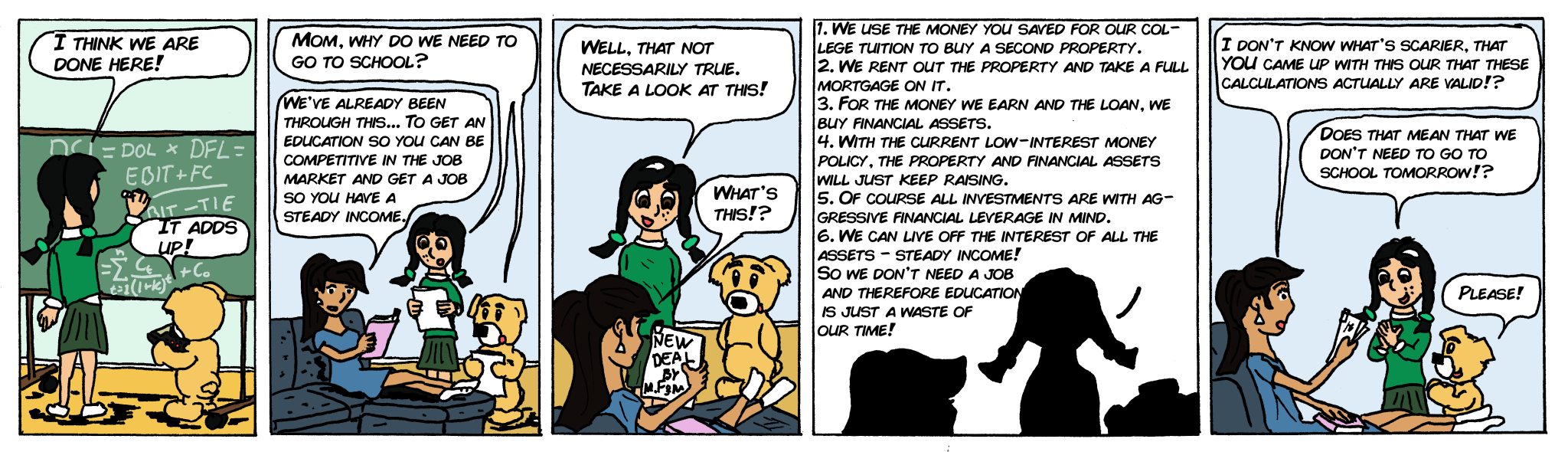 comics about that financial leverage pays off mora than work
